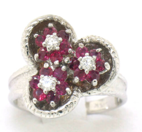 14k White Gold Quality Red Ruby & Diamond Triple Flower Cluster Ladies Ring