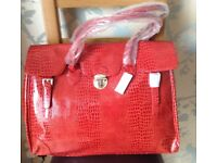 Red Moc Croc Oversized Bag, Overnight Bag, Weekend Bag NEW with Tags