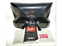 RAY-BAN BEAUTIFUL GENUINE SUNGLASSES RB3445 BLACK GREEN POLARIZED 64MM LENSES - AS NEW CONDITION