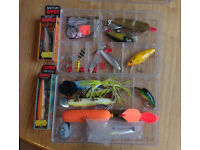 Fishing lures including 2 x Rapala - approx 15 lures in total plus accessories.