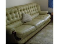 3 Seater Leather Sofa and 2 Arm Chairs