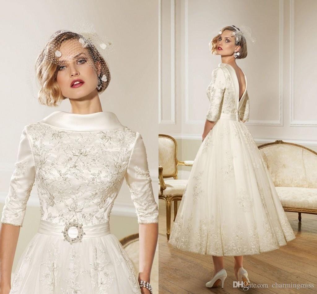 VINTAGE TEA LENGTH RONALD JOYCE Wedding Dress size 8/10 | in ...