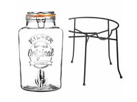 Kilner Drinks Dispenser with Stand and 4 Mason Jars– 5 Litre Parties, Outdoor Weddings, BBQs