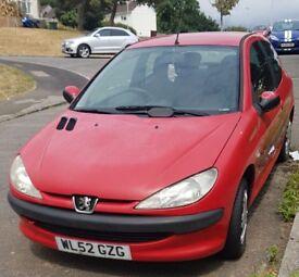 Peugeot 206, Red Hatchback, Petrol Car.