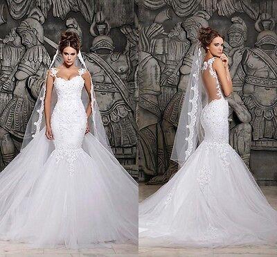 New White Ivory Lace Wedding Dress Bridal Gown Mermaid Size 2 4 6 8 10 12 14 16