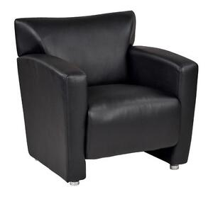 OSP Office Lounge Coach in Black Faux Leather and Silver Legs