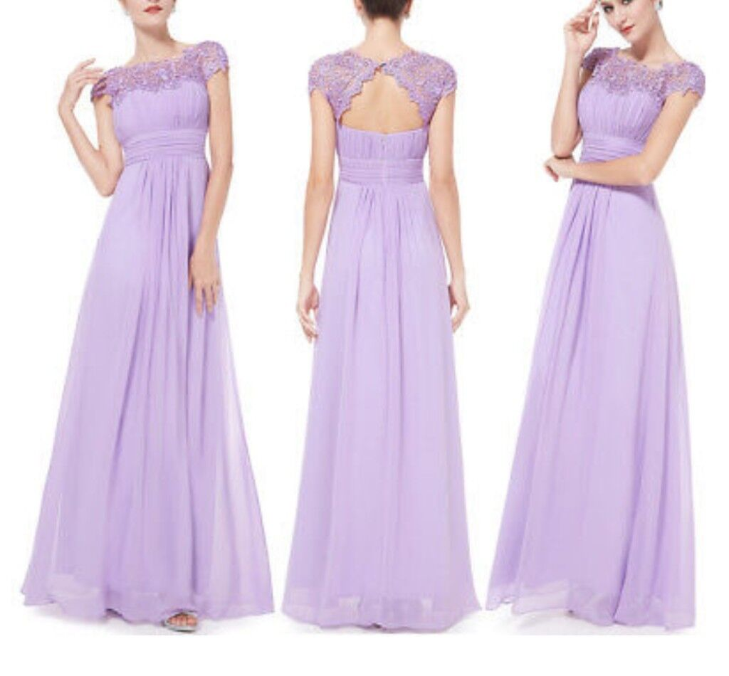 Ever-pretty UK Long Lace Cap Sleeve Bridesmaid Dresses Party Evening ...