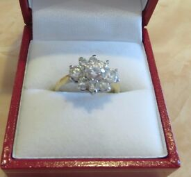 CLUSTER CUBIC ZIRCONIA RING - M & S - looks the part! A bargain!