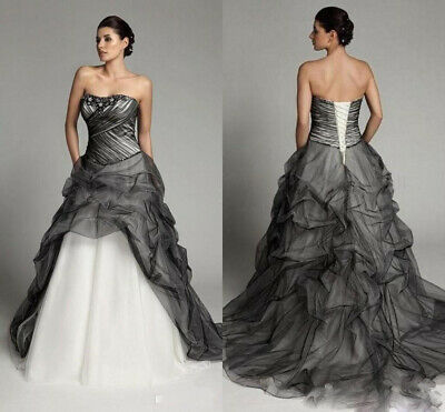 Gothic Black White Strapless Ruffles Ball Gown Wedding Dresses Long Bridal Gowns