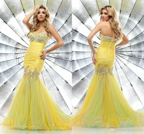 Yellow Jeweled Mermaid Tulle Fit and Flare Formal Gown Prom Dress Size 4/6* EUC!