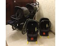 Mamas & Papas travel system for twins, toddlers or babies. Pram/Stroller, Car seats & ISOFix bases