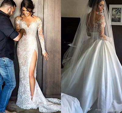 New White Ivory Lace Wedding Dress Detachable Bridal Gown Custom Size 6 8 10 12