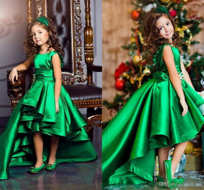 Green High Low Pageant Dress for Girls Kids Party Ball Gown Flower Girl Dresses