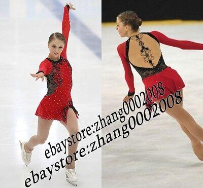 Ice Skating Dress. Red Figure Skating.Acrobatics Baton Twirling Dance - Twirl Costumes
