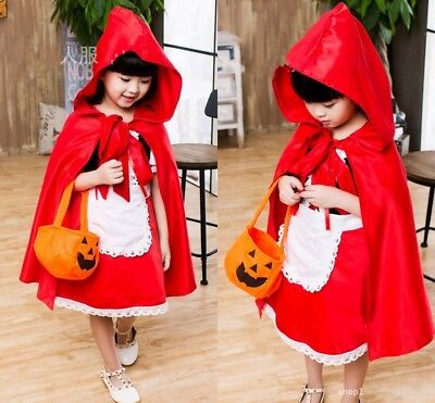 Little Red Riding Hood Whole Set Dress Cosplay Costume For Kids Christmas Party