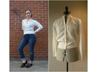 1950's vintage Size S white and silver cardigan