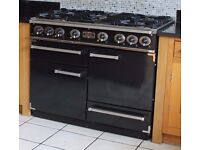 Falcon Dual Fuel Range oven black and chrome with black cooker hood