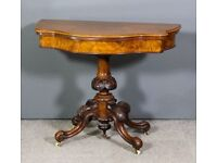 Victorian Walnut Card Table Antique in Superb Order