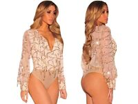 Apricot Flowing Sequins Long Sleeves Bodysuit Top Dress-Size 8 10 12 14 16