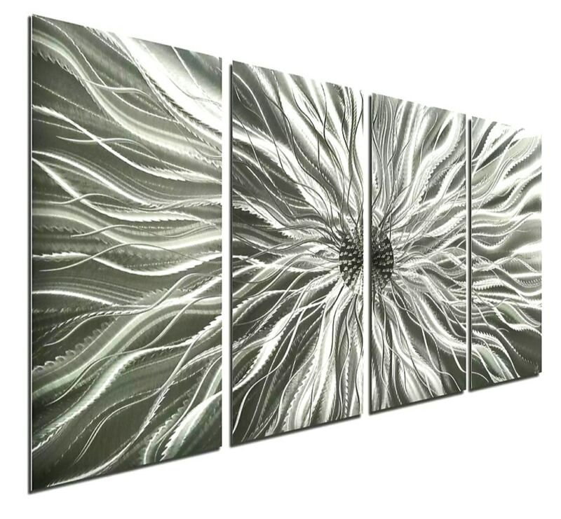 Abstract Art Metal Wall Hanging - Modern Silver Contemporary Decor -WOW!