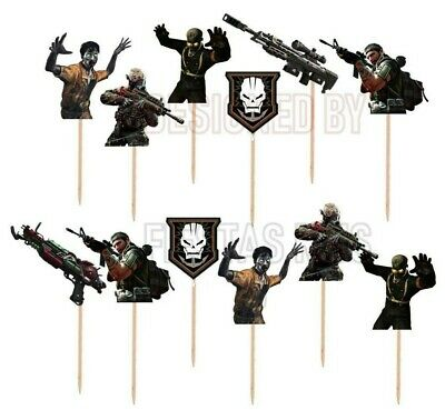 Call of Duty Cupcake Toppers 12 or 24 pc Made of Cardstock Paper, Birthday Party (Call Of Duty Birthday Party)
