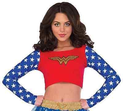 Wonder Woman Crop Top DC Comics Superhero Fancy Dress Halloween Adult Costume