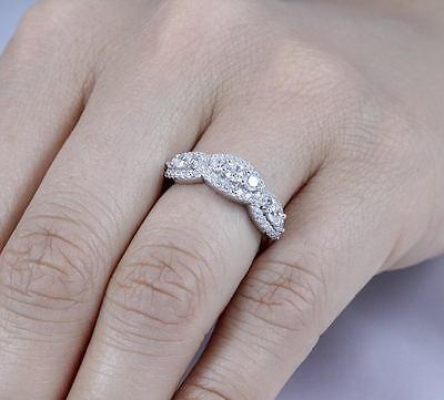 Women 14k White Gold Over Genuine Diamond Prong Wedding Engagement Band Ring 1ct