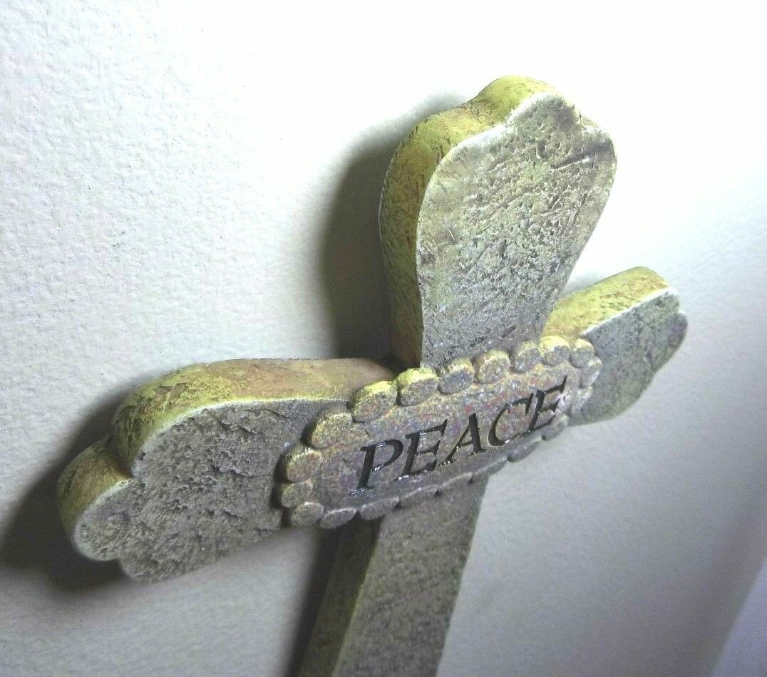 Religious Peace Cross Wall Plaque Resin Faux Stone 7 V.Designs 2004 Wall Art  - $15.10