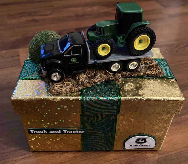 John Deere Flatbed Truck & Tractor Cardboard Gift Box Candy Storage Unique