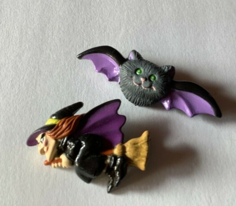 Vintage Russ Lot of 2 Halloween Pins Witch on a Broom And Bat Brooch
