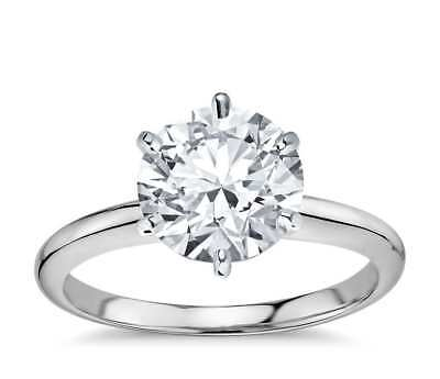 1.5 Ct Round Cut Diamond Solitaire Engagement Promise Ring Solid 14K White Gold