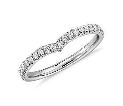 0.30CT Redondo Natural Media Eternidad Diamante Alianza Anillo En 9 Oro Blanco