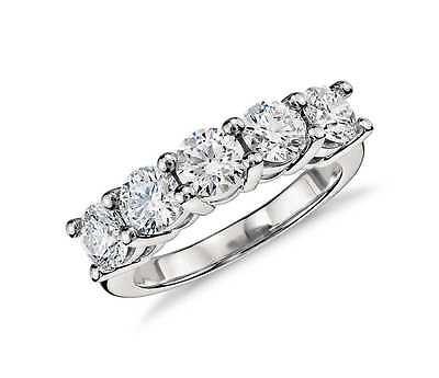 (1ct Five Stone Genuine Round Diamond Wedding Anniversary Ring 14K White Gold)