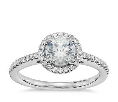 SZUL - 3/4 ROUND 0.50 CTW DIAMOND HALO ENGAGEMENT RING 14K WHITE GOLD SIZE: 8.5  (Gold Szul Jewelry)