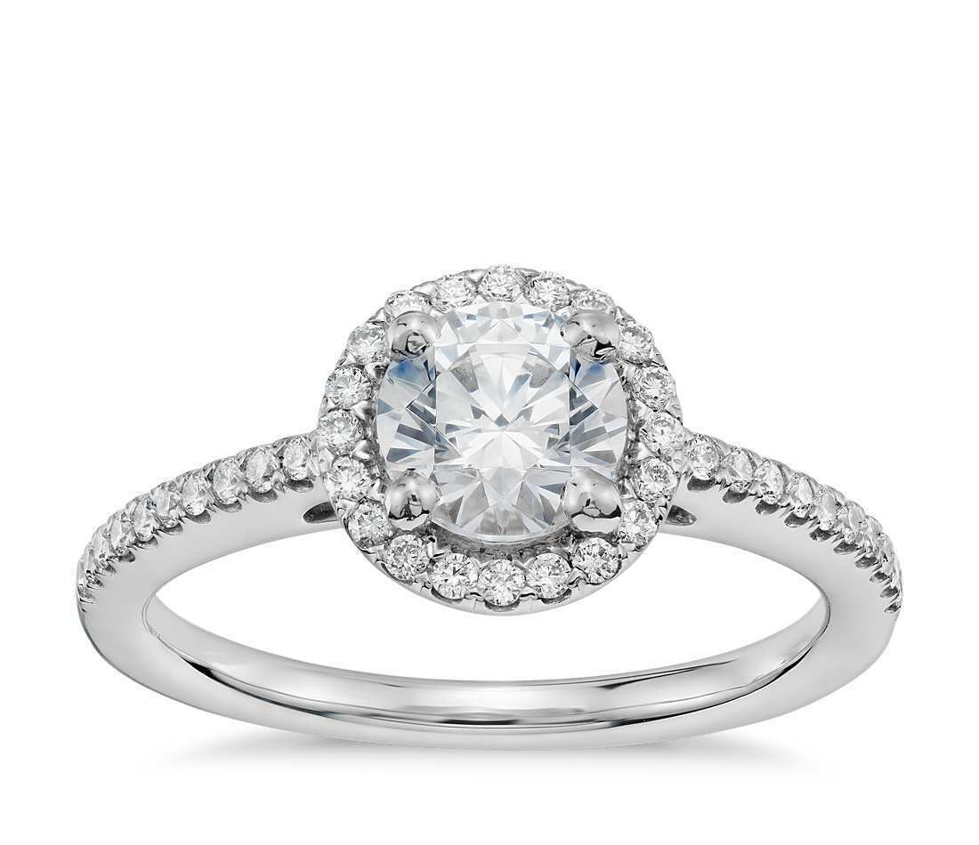 SZUL - 3/4 ROUND 0.50 CTW DIAMOND HALO ENGAGEMENT RING 14K W