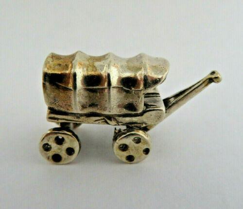 Miniature European 800 Solid Silver Western Covered Wagon Figurine