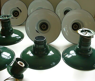 """(1) VTG 12"""" Porcelain Flush Mount Industrial Green Enamel Barn Light Lamp B"""