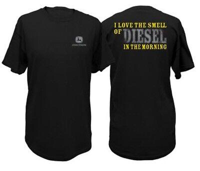 NEW John Deere Black Love the Smell of Diesel in Morning Sizes  M L XL 2X 3X - Black Love