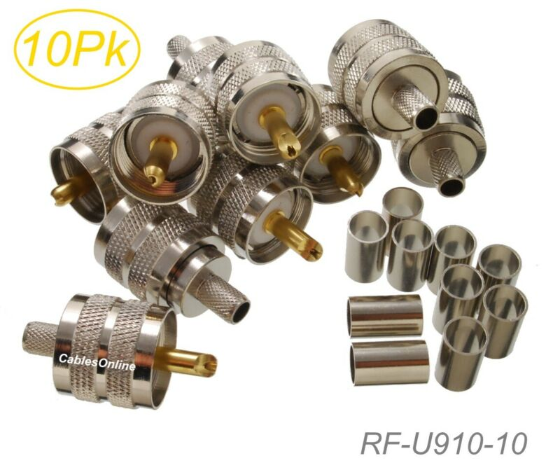 10-Pack, UHF PL-259 Male Crimp Type RF Connectors for RG8X, LMR240 Coax Wire