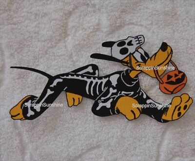 DISNEY HALLOWEEN SKELETON PLUTO Printed Scrapbook Page Paper Piece - SSFFDeb - Halloween Skeleton Paper Crafts