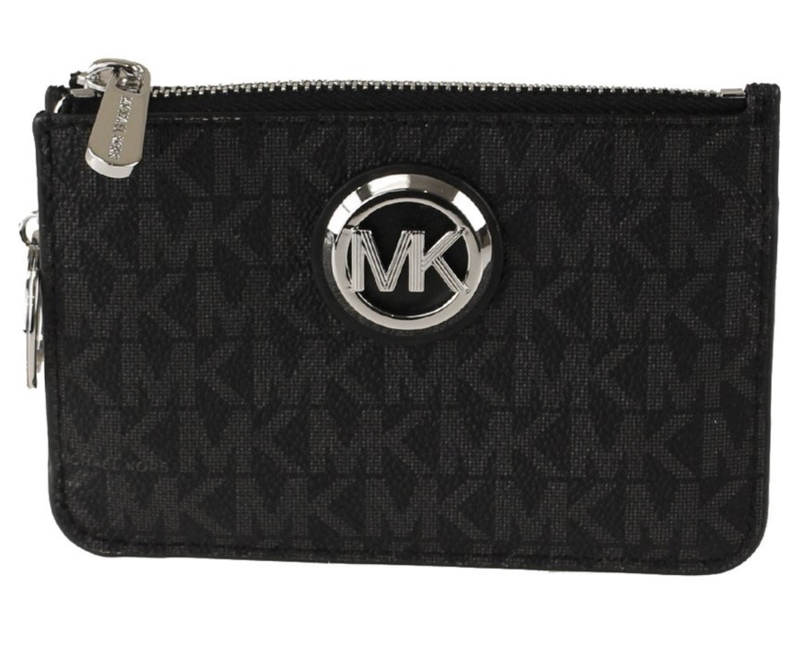 Michael Kors Jet Set Travel Small Top Zip Coin Pouch ID Holder Key Ring Wallet Fulton Black MK
