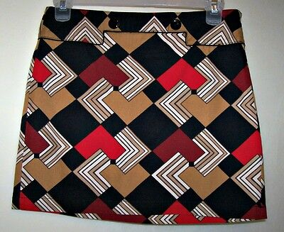 ANN TAYLOR LOFT Retro Mod Geometric Mini SKIRT Size 8 Petite Pencil Straight NWT