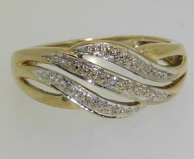 DIAMOND CROSSOVER RING 9CT 9 CARAT YELLOW GOLD RING SIZE M 1/2