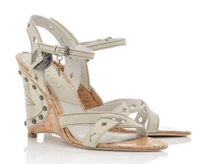 New without box Christian Dior Gaucho Ivory Leather Wedge Sandals Size 39.5