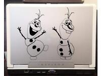 "Frozen Olaf Waving Smiling Vinyl Decal 6/"" Black"