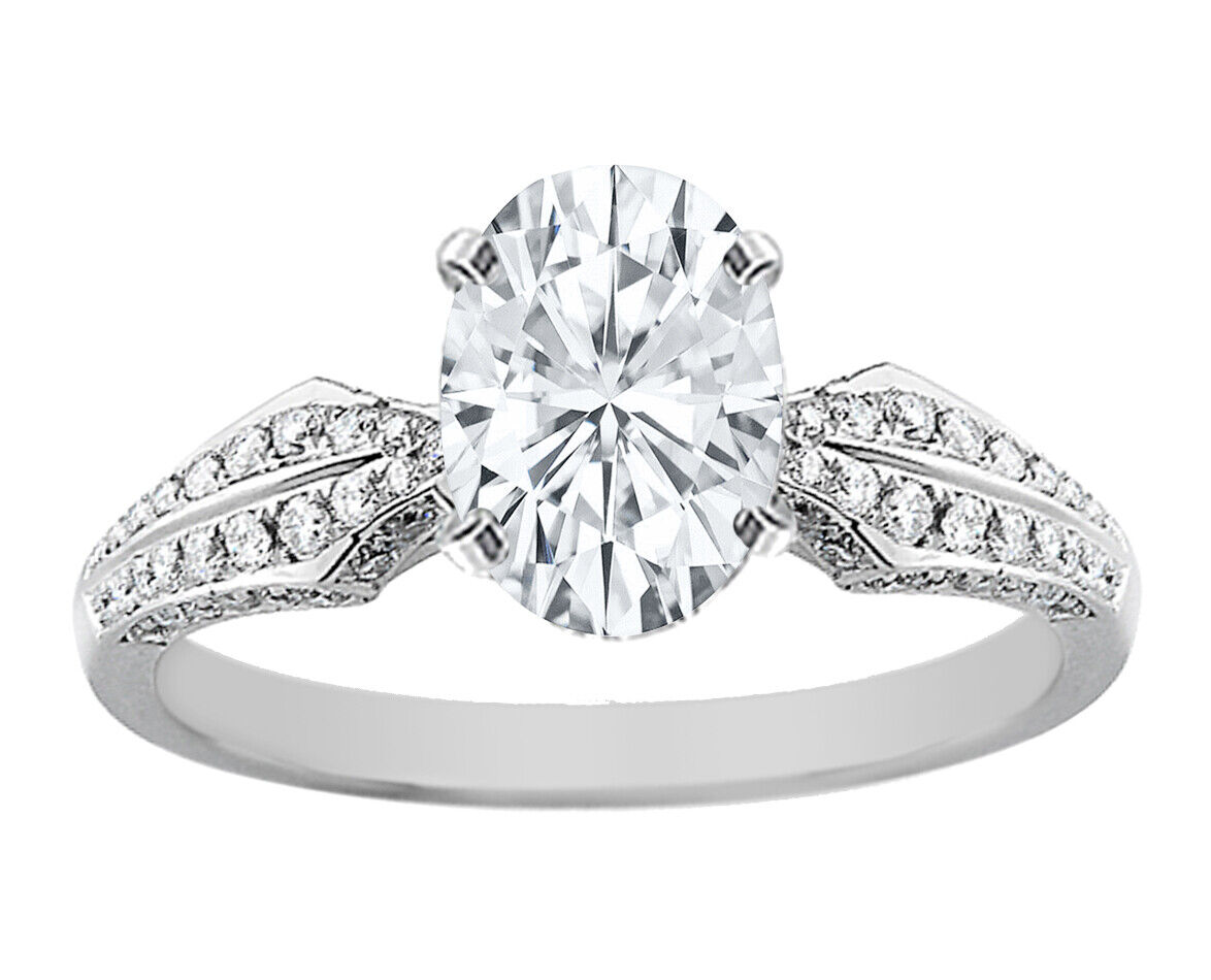 GIA Certified Diamond Engagement Ring  2.45 CT Oval Shape & Round Shape 14k Gold