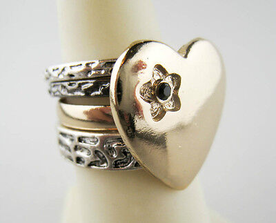 Gold/Silvertone Black Rhinestone Four Piece Heart Stackable Ring Set Size 8