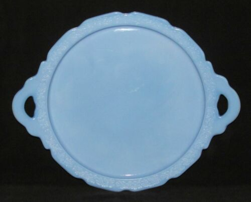 Jeannette Glass Co. CHERRY BLOSSOM Delphite Blue Two-Handled Sandwich Tray