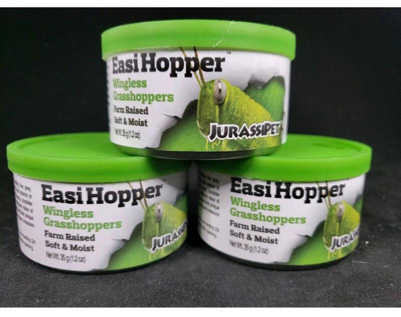 3 Cans Jurassipet Easi Hopper 35g 1.2 Oz Wingless Grasshopper Farm Raised