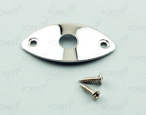 Guitar-oval-jack-plate-HJ003-Chrome-with-screws